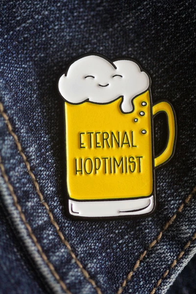 Eternal Hoptimist Beer Pun Soft Enamel Pinkiss and punch NEW