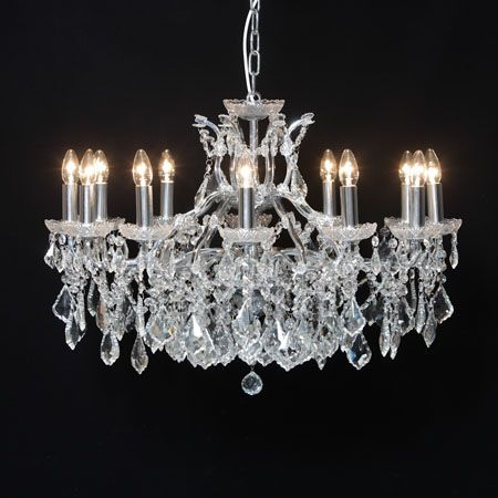 Large 12 Branch Chrome Shallow Chandelier