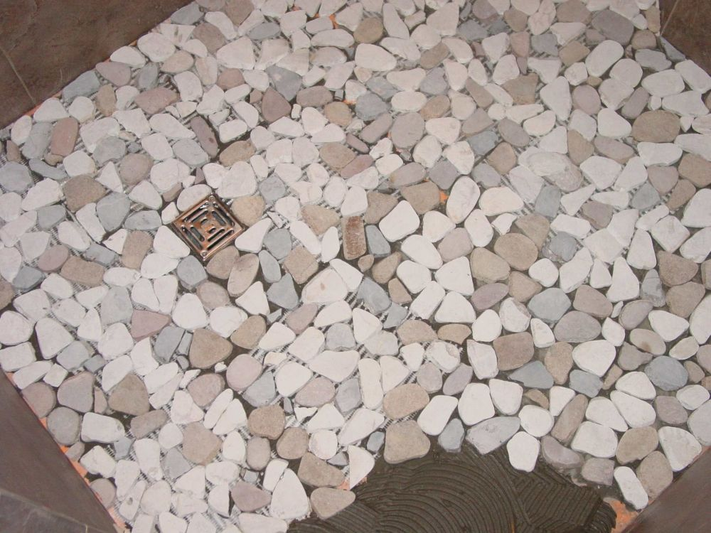 How to install pebbles in tile showers  shower floors and pebble borders ceramic my perfect floor they should have the whole
