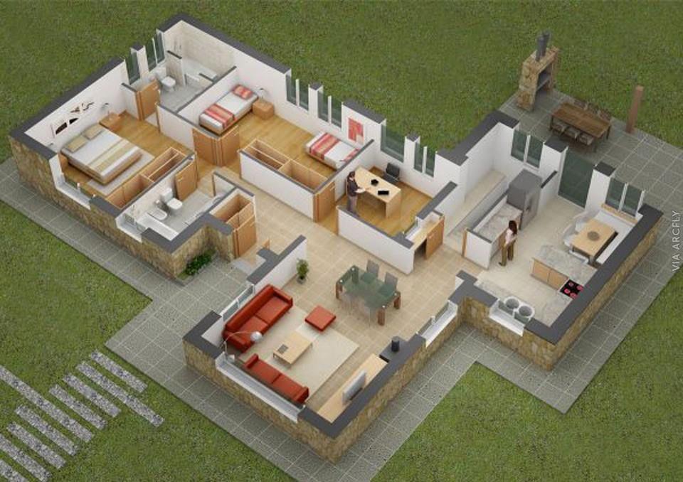 50 Denah Rumah Minimalis 3d 3 Kamar Tidur 2 Lantai Dan 2 Kamar Tidur Denah Rumah Denah Lantai Denah Desain Rumah