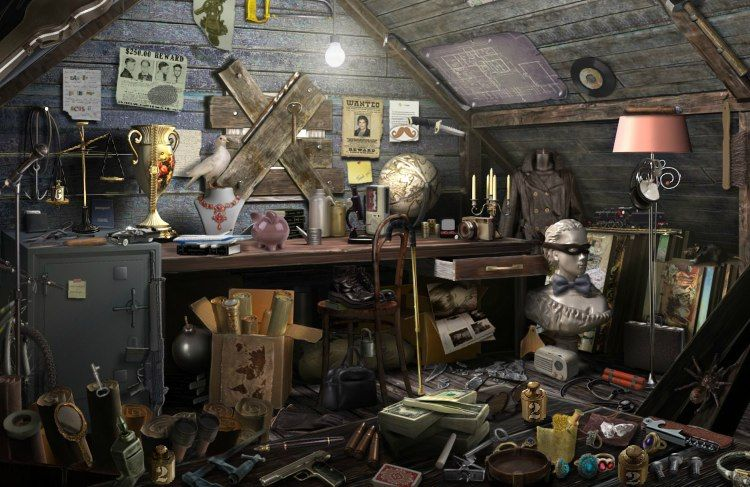 Hidden Chronicles attic. Too messy & grey for my taste, but clearly 3D modelled for 2D experience