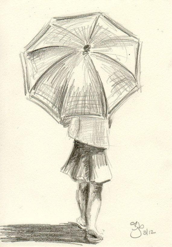 Girl with Umbrella - 8x10 Art Print