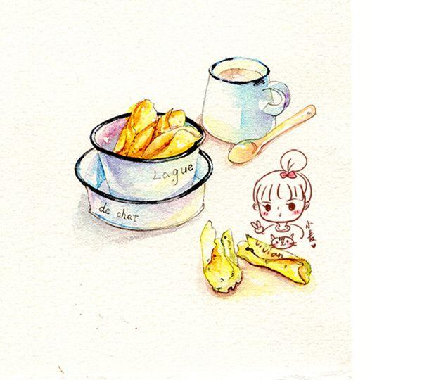 猫舌饼干的制作小教程-小麦鱼_手绘,水彩,插画,美食,商插_涂鸦王国插画