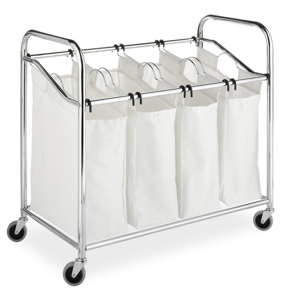 Large Laundry Sorter Enchanting Chrome Hamper Canvas Large #laundry Sorter Wash Clothes #hampers Design Ideas