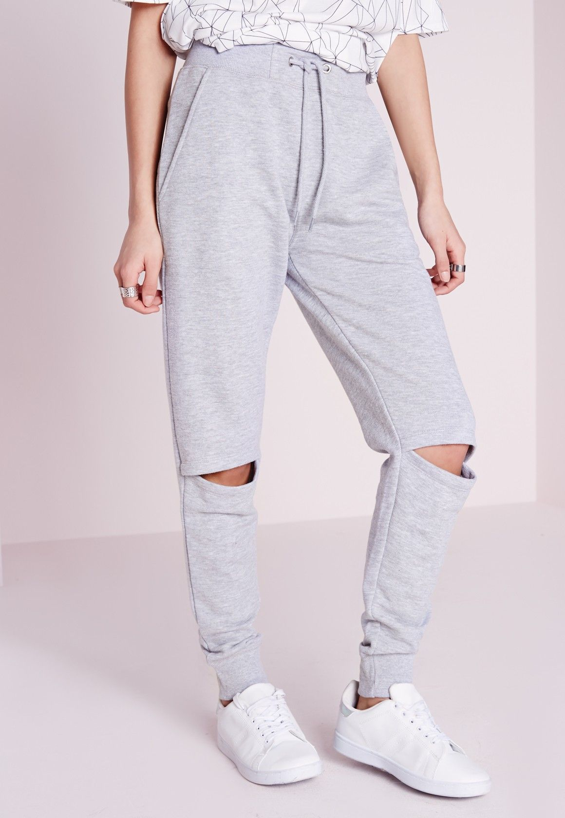 a623cfa4a40c2 Missguided - Rip Knee Joggers Light Grey | 2017 | Ripped knees ...