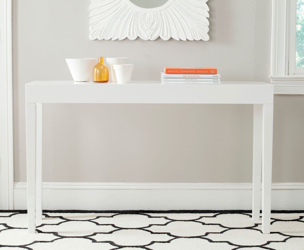 Kayson Lacquer Console Table In White White Console Table Wood Console Table Sofa End Tables