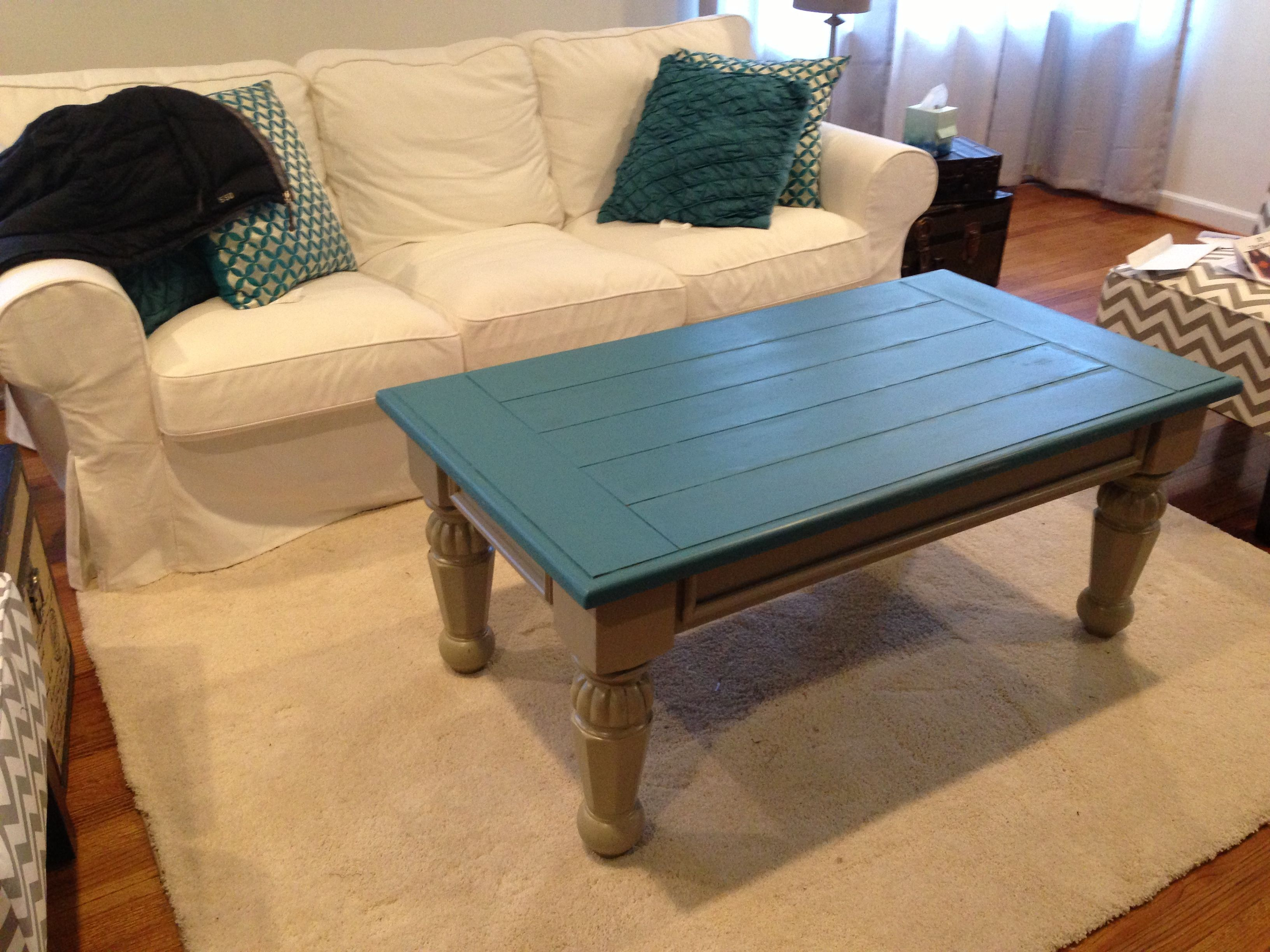 Restored this coffee table- bought at garage sale with 2 end tables