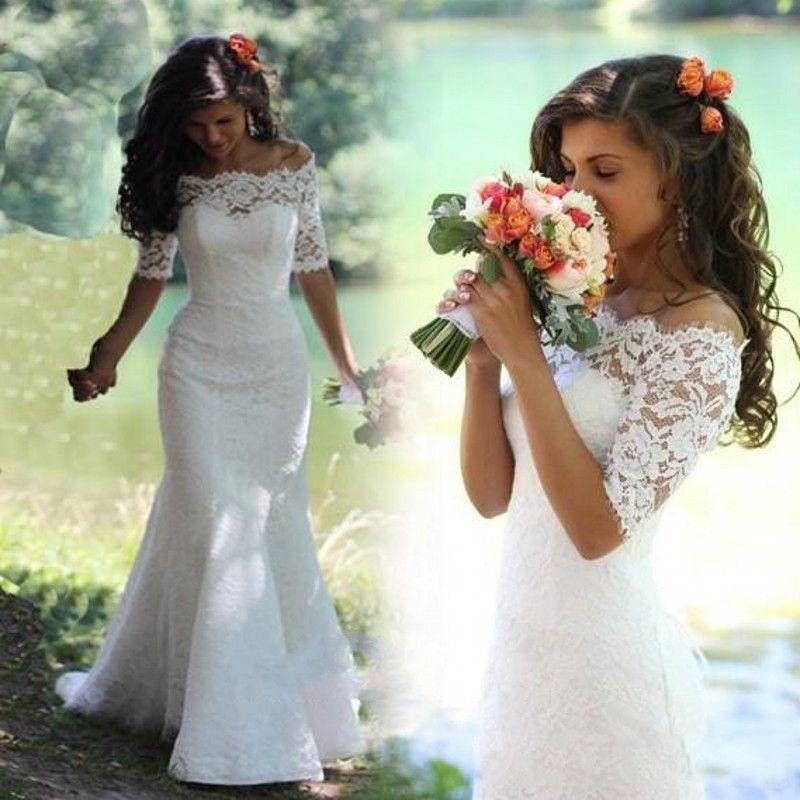 Elegant Romantic 2016 Half Sleeve White Ivory Lace Mermaid Wedding Dress  Vestidos De Noiva Bridal Gowns Wedding Gowns For Bride
