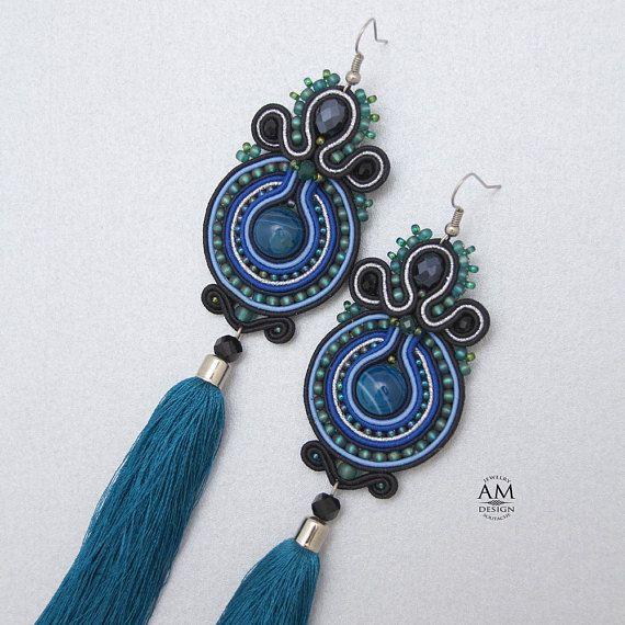 fd625e8d3489f Blue tassel earrings, Soutache jewelry handmade, large tassel ...