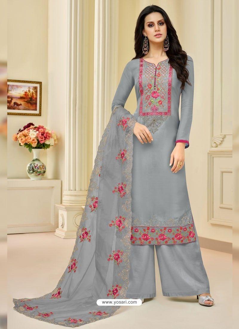 9874821e38 Grey Pure Upada Silk Embroidered Palazzo Suit in 2019 | Plazzo ...
