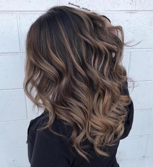 Ash Brown Balayage with Black Roots