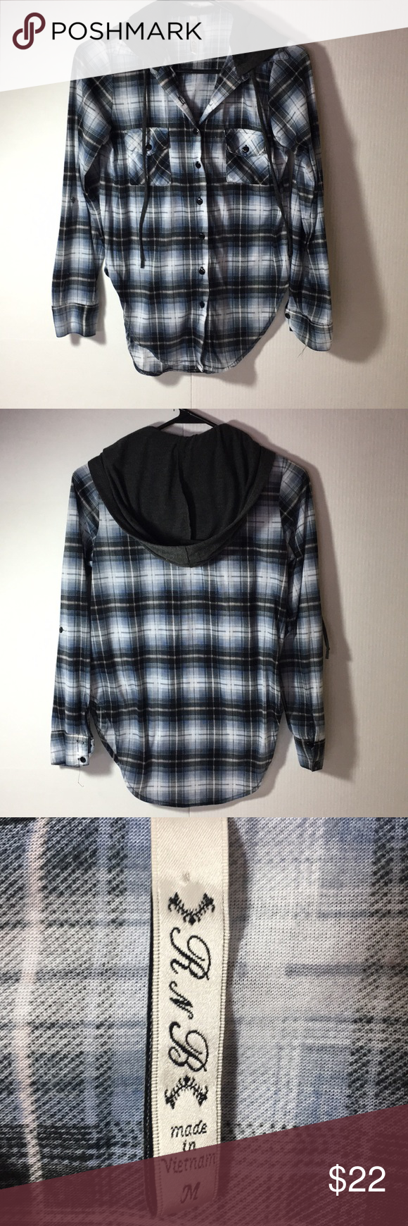 7799e280f095c R & B ( Rich and Beautiful Like You) shirt EUC button down hoodie, 100%  polyester, extremely lightweight plaid shirt. It has 2 front pockets and  would look ...