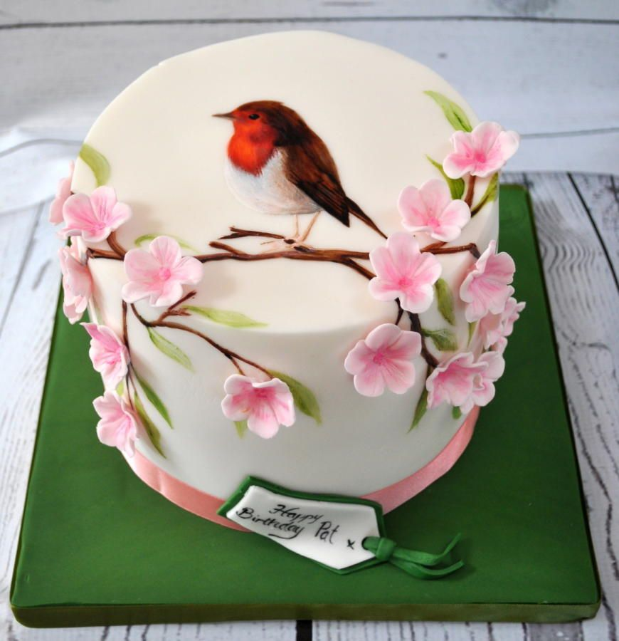 handpainted Robin by hippop | Fondant christmas cake ...