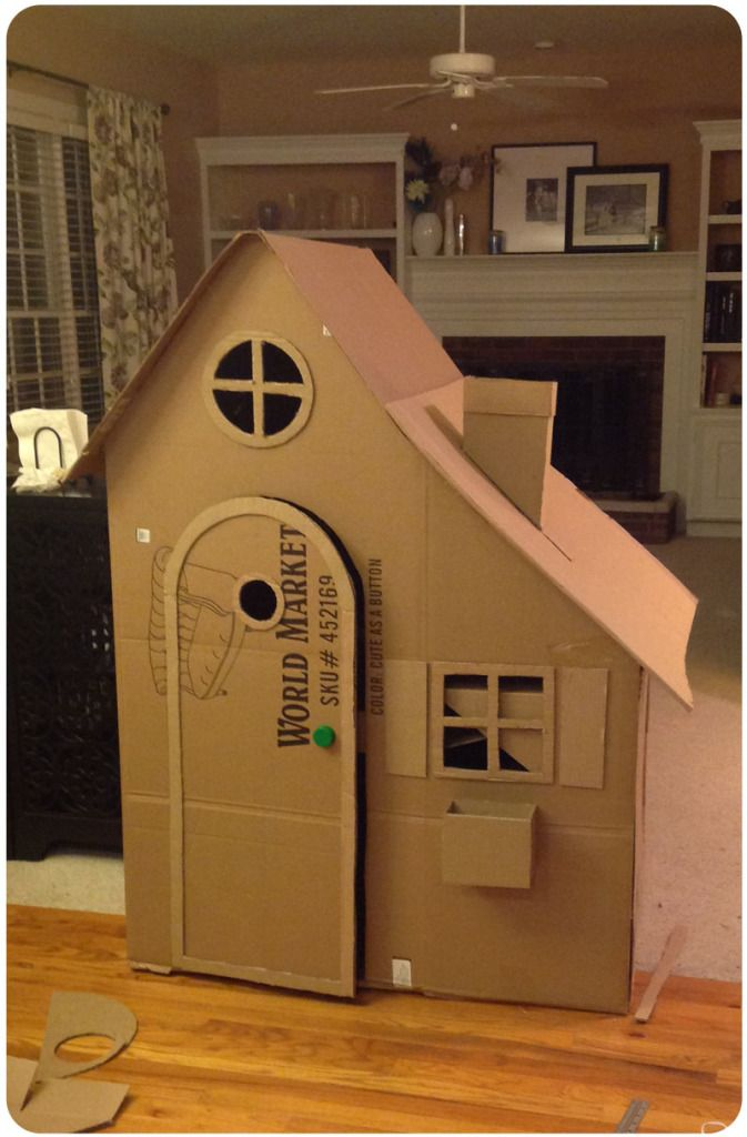 How To Build A Cardboard Playhouse Love Laugh Lose Your Mind Cardboard Box Houses Cardboard Playhouse Cardboard House