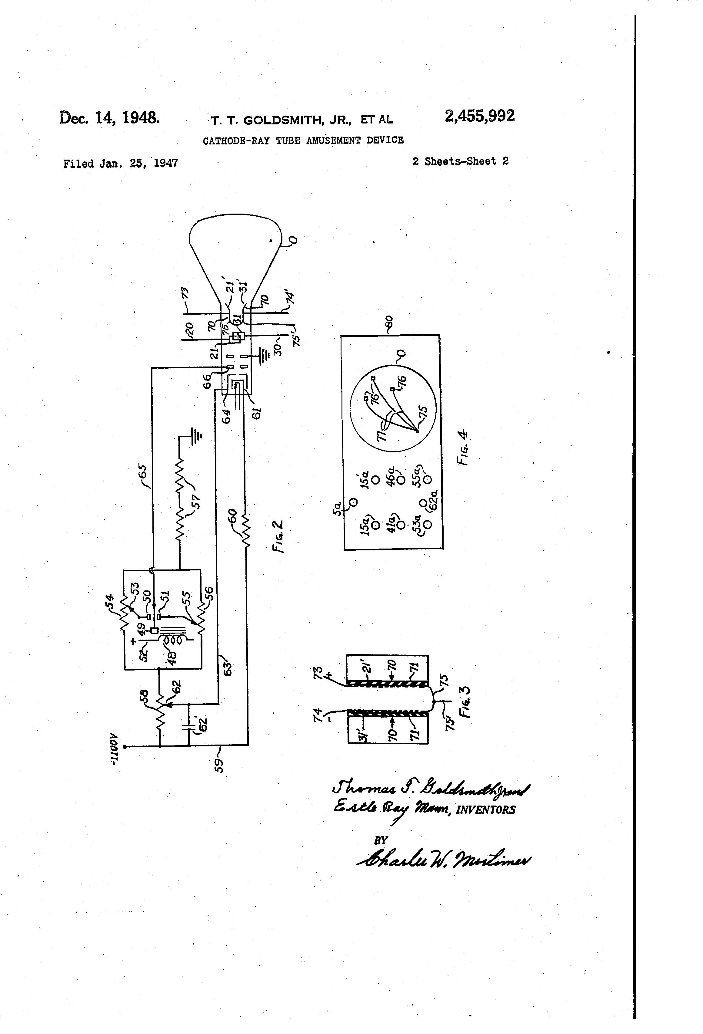 Cathode Ray Tube Amusement Device Patent Drawing 1947 Early Diagram