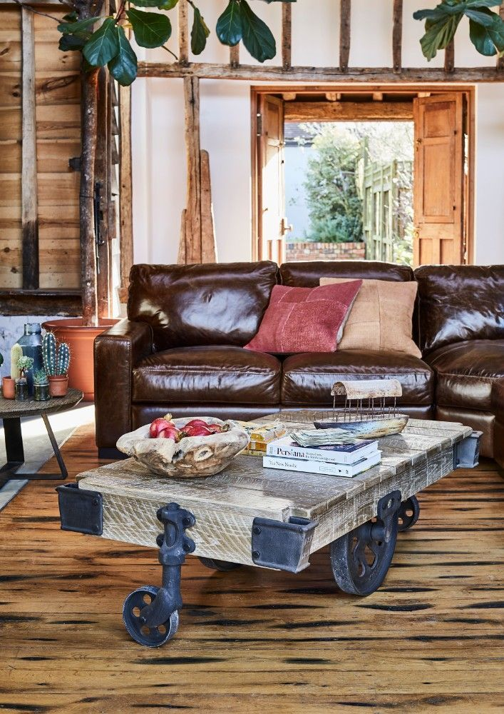 An Inspired Design Featuring Cast Iron Working Parts And Solid Oak Surfaces The Oakham Factory Cart Coffee Table Adds Character Pers