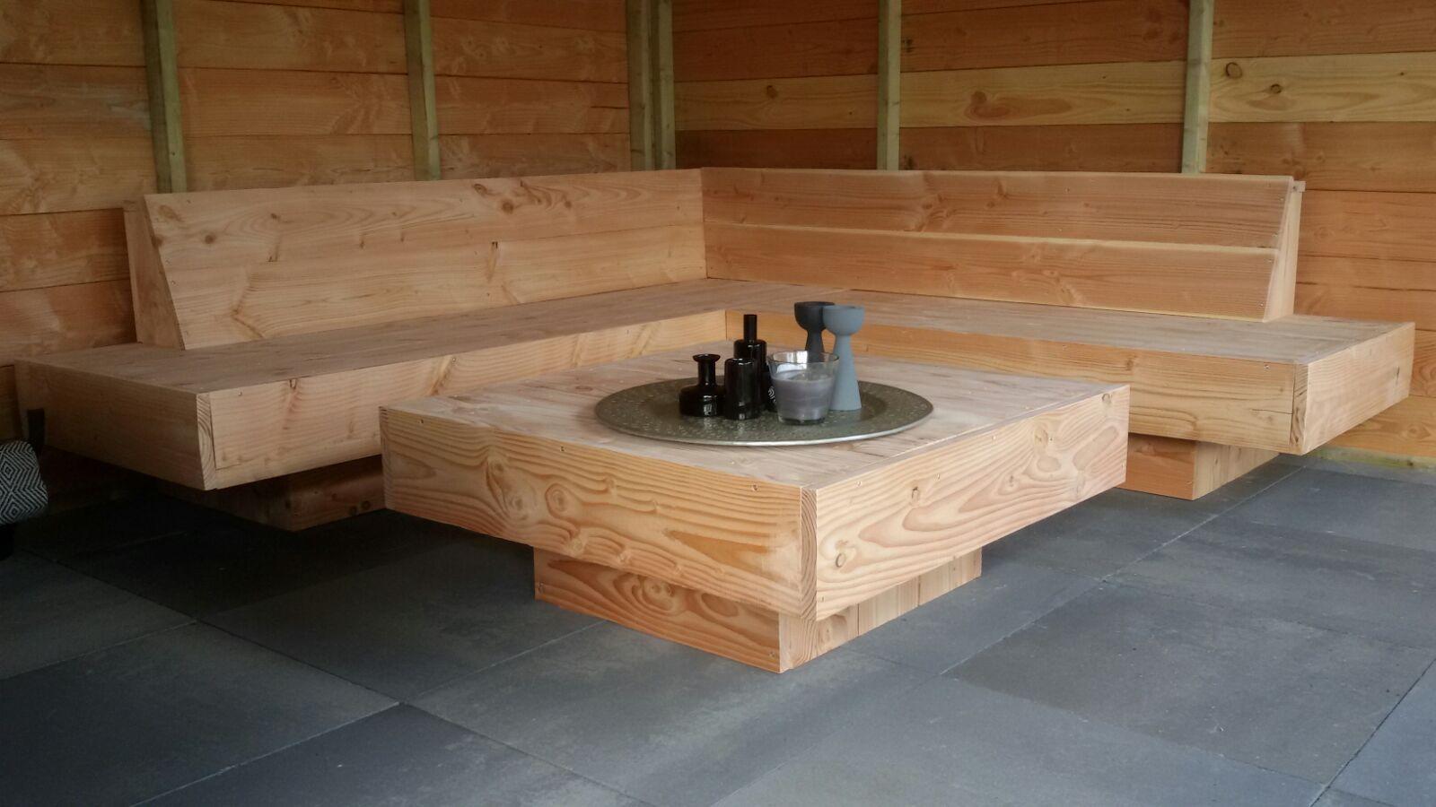 Grote loungebank hoekbank voor buiten houten xl hoekbank
