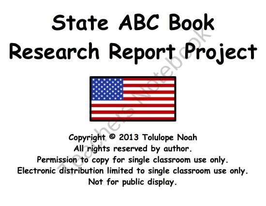 State ABC Book Research Report Project product from Dr-Noahs-Shop - project report