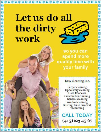 LetS Do All The Dirty Work House Cleaning Flyer Template