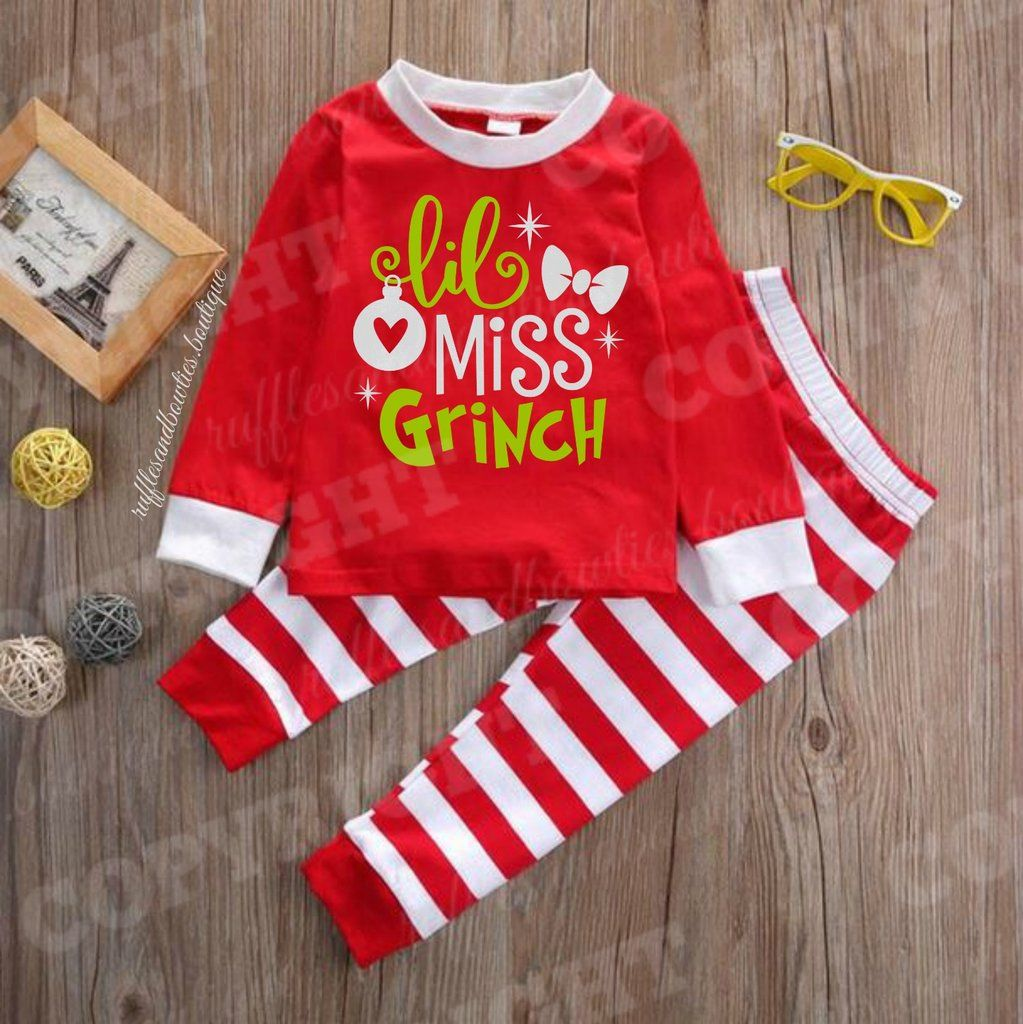 80c0a85888 EXCLUSIVE    Girls Red and White Stripe Holiday GRINCH Christmas Pyjamas
