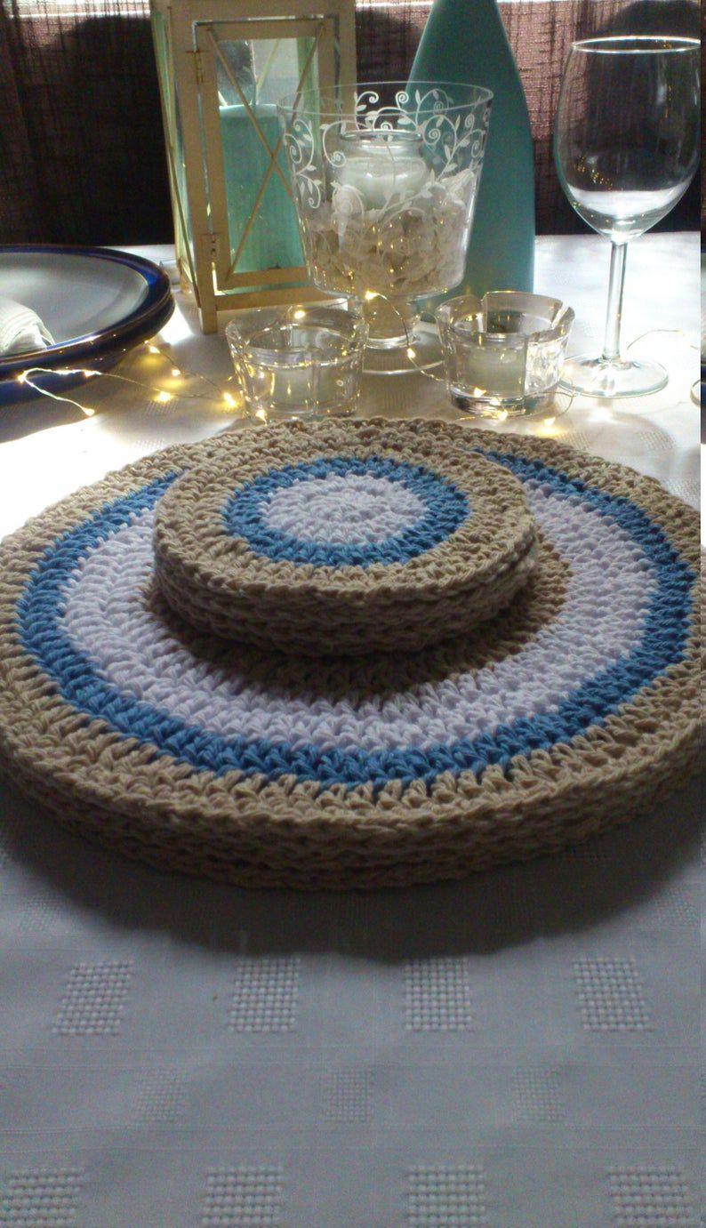 Handmade Crochet Coastal Place Settings Set Beachy Coasters Etsy Handmade Crochet Customized Blankets Recycled Yarn