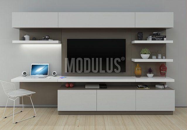 Escritorios modernos escritorios minimalistas for Muebles bibliotecas para living
