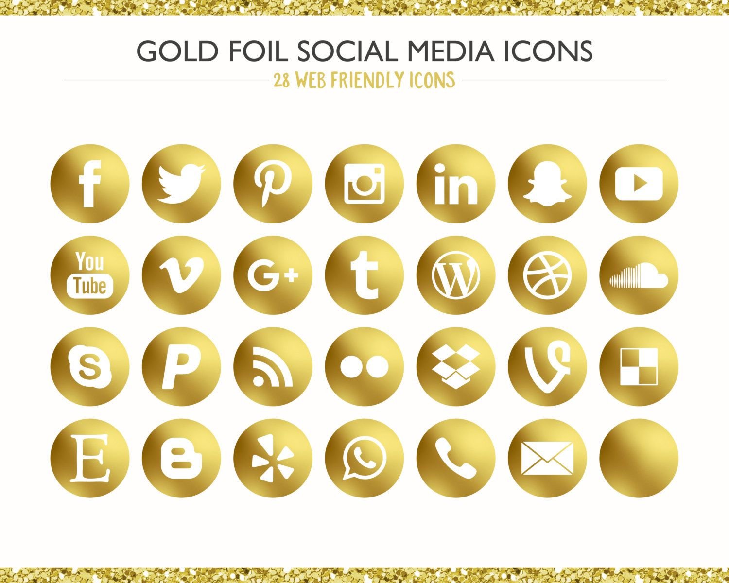 100+ Gold Foil Social Media Icons! PNG files Digital