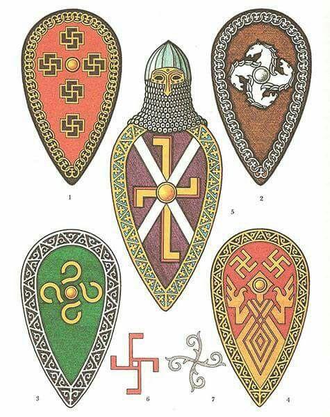 Картинки на щитах воинов