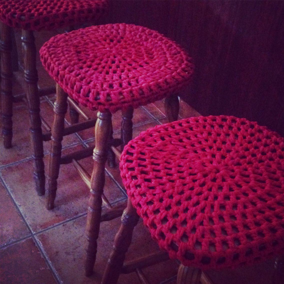 Bar stool revamp #crochet