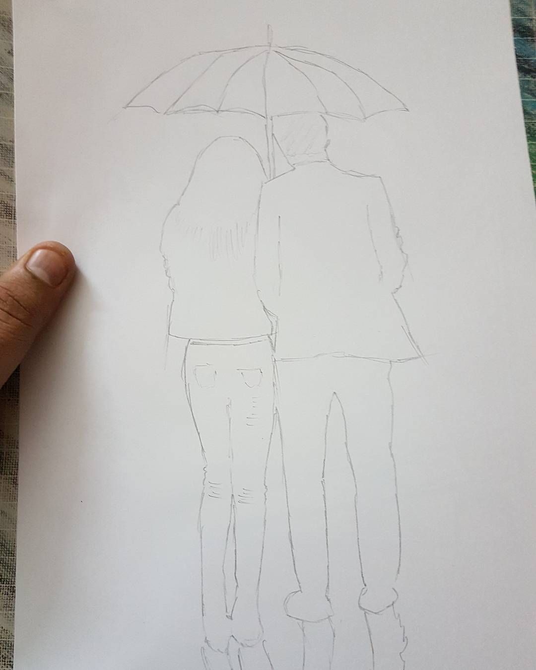 Wip sketch shadesofgray couples rain night blackandwhite pencil art