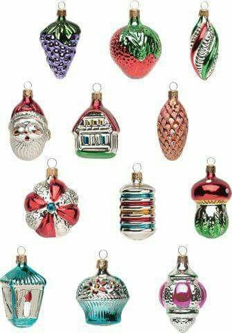 Xmas Old School Christmas Glass Ornaments Christmas Ornaments
