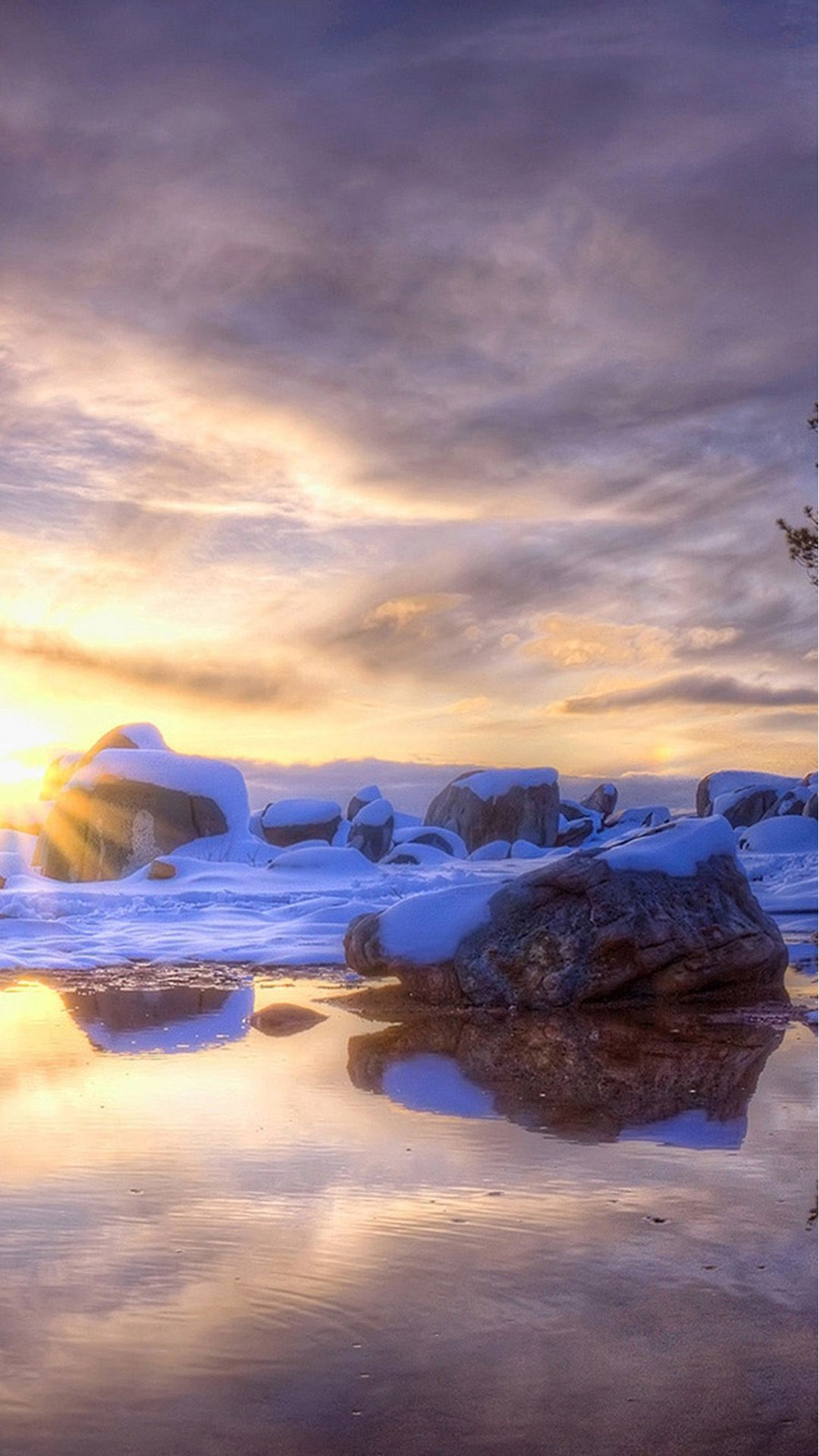 Nature Icy Stone Rock Beach Skyview iPhone 8 Wallpapers