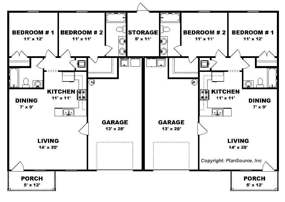 Duplex House 2 Bedroom 2 Bath Joy Studio Design Gallery Best Design Duplex Plans Duplex House Plans Duplex Floor Plans