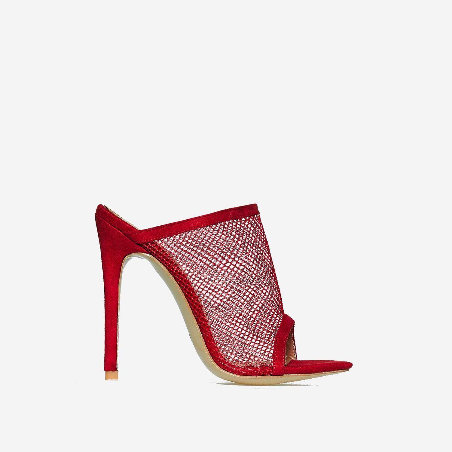 035552f3e159 Cardi Fishnet Peep Toe Mule In Red Faux Suede