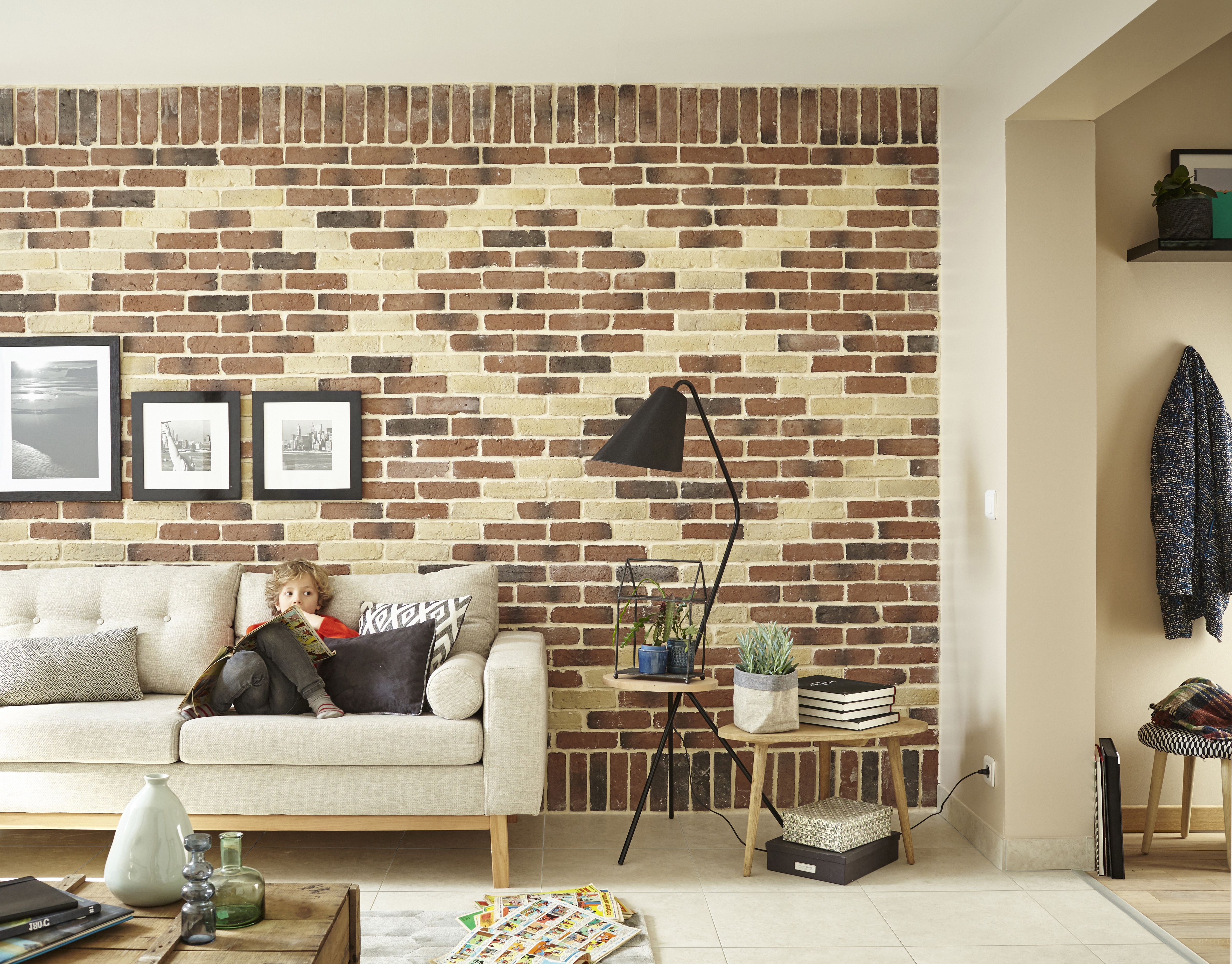 plaquettes de parement en terre cuite habillent le mur du salon salon homedecor decomur. Black Bedroom Furniture Sets. Home Design Ideas