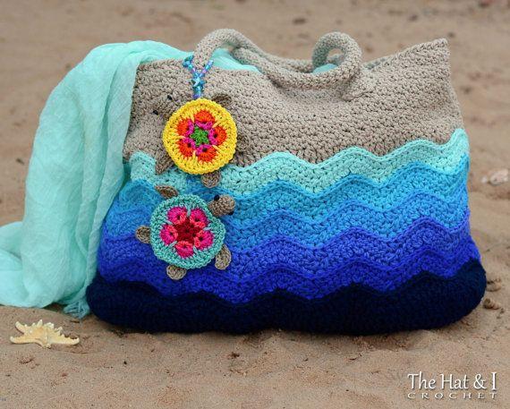 CROCHET PATTERN - Turtle Beach Tote - crochet tote pattern, beach ...