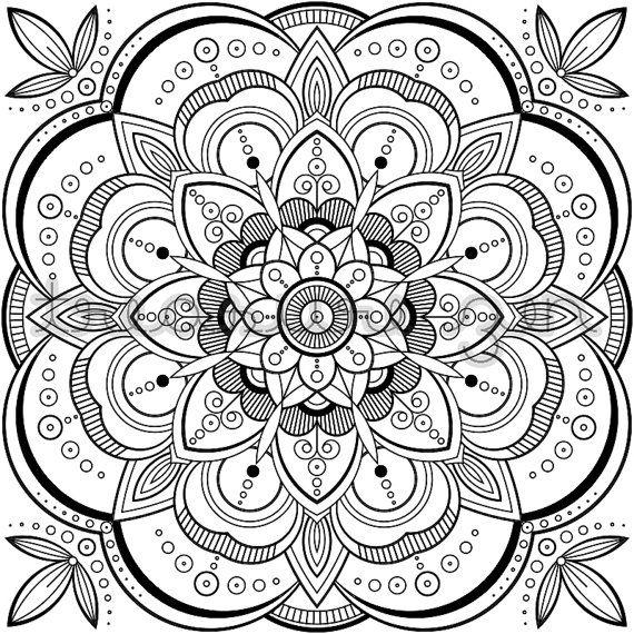 PDF Mandala Coloring Book Page  Printable Adult by TreasureZen