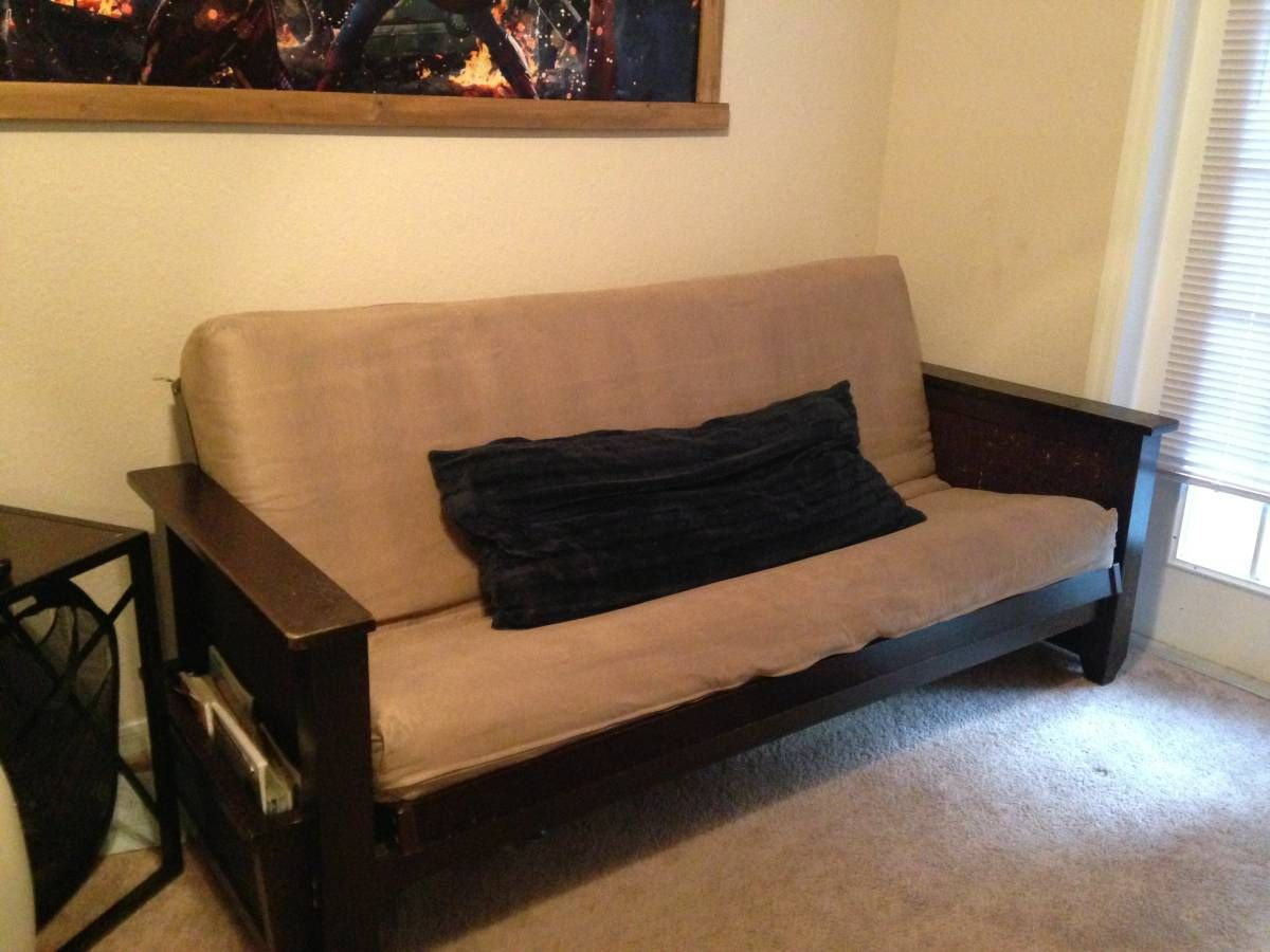 This Futon Frame Looks So Hot With Nice Thick Arms A Magazine Extension Rack The Mattress Rests Nicely On