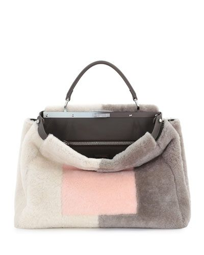 Fendi colorblock dyed sheep shearling (Italy) fur tote. Leather top handle with…
