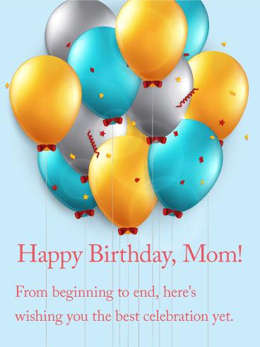 cheerful birthday balloon card for mom big festive balloons and