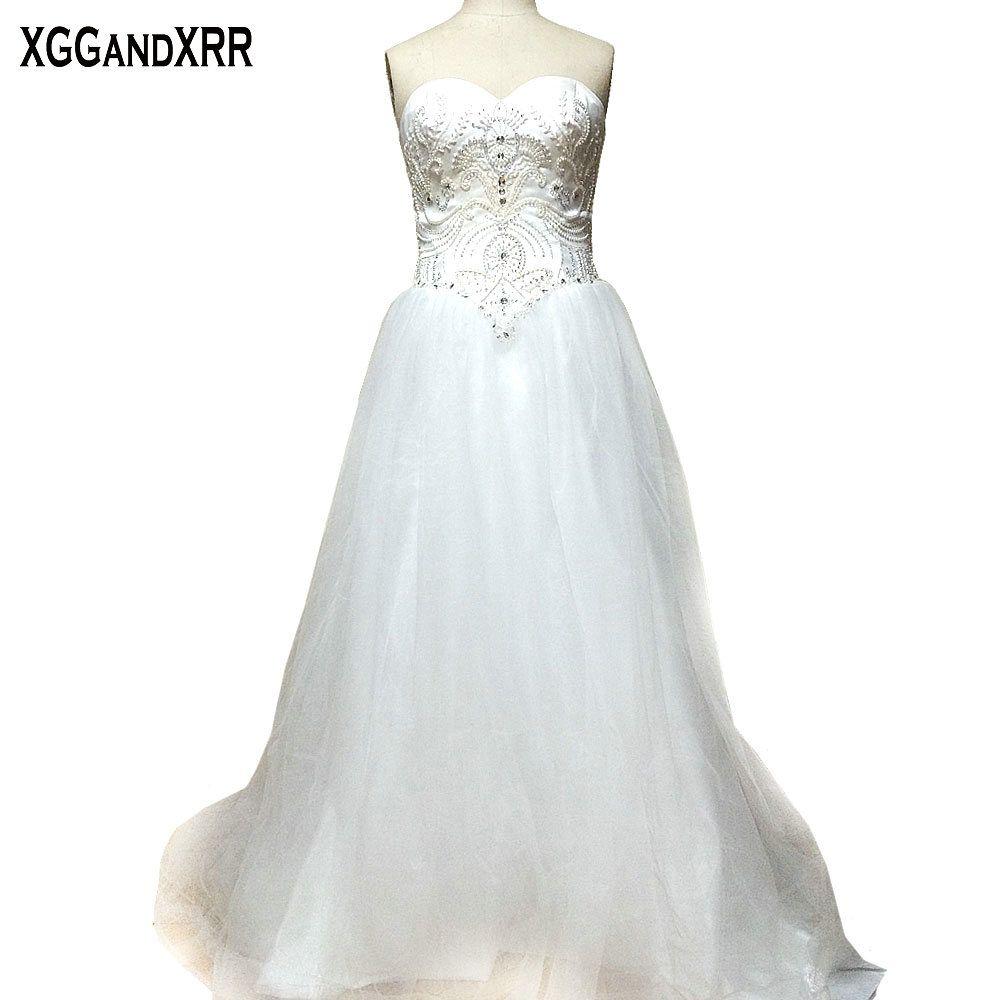 New arrival sweetheart tulle aline wedding dresses beaded