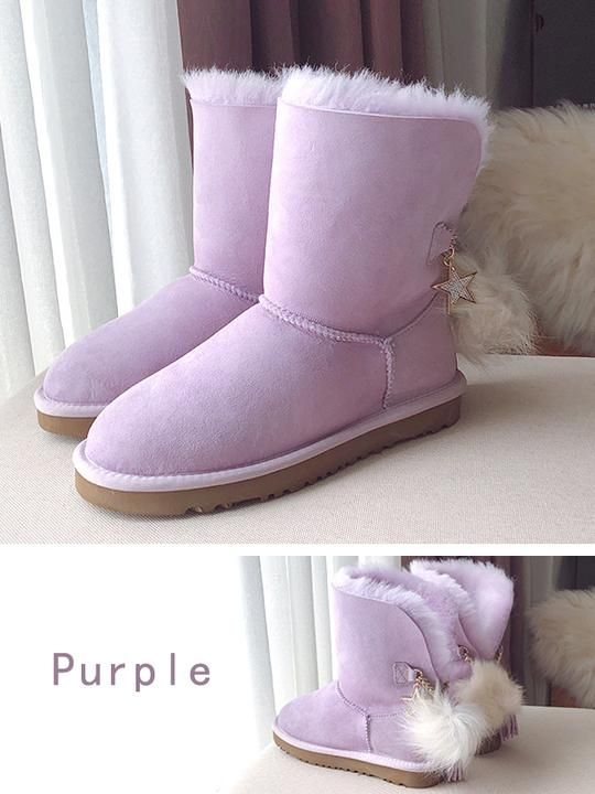 05d77c4174e Mid-Tube Wool Tassel Fur Ball Snow Boots Uggs | UGG Style Shoes ...