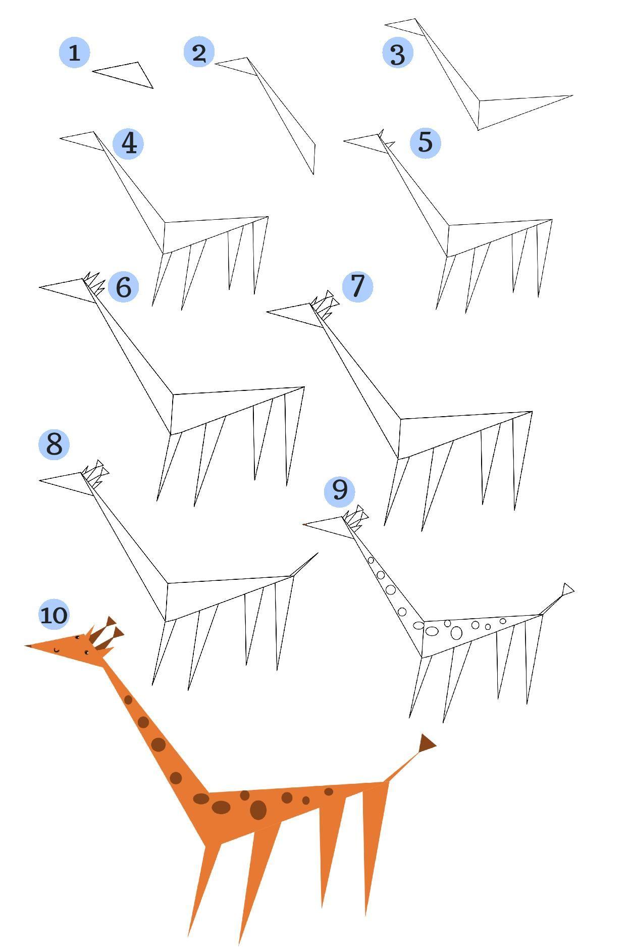 Jak narysować geometryczną żyrafę- KROK PO KROKU. Rysowanie twórcze ...