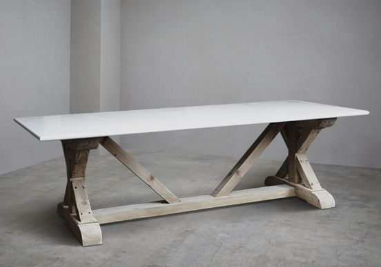 Carrara Marble Topped Refectory Stone Table