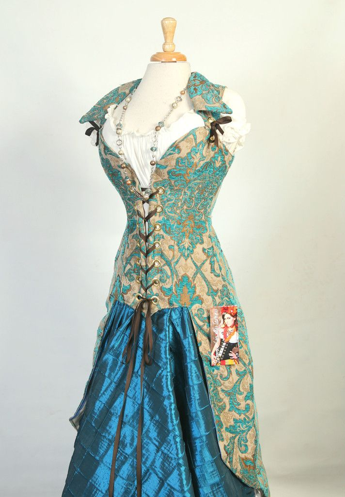 Deluxe Peacock Tailed Pirate Corset-Vintage Teal Paisley