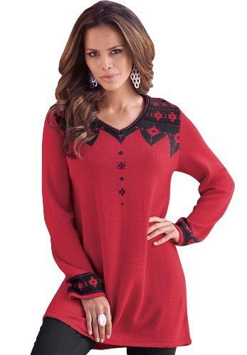 Plus Size Fair Isle Sweater Tunic (Black,S) BCO. $24.99. Save 67 ...