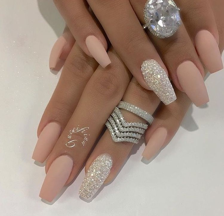 Matte nude and silver nails http://hubz.info/105/nice-nails-hena ...