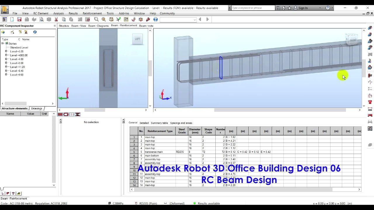 Autodesk Robot Structural Analysis 3d Office Building Design 06 Rc Bea In 2020 Building Design Structural Analysis Office Building