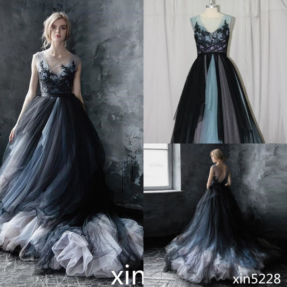 Victorian Gothic Wedding Dress Black White Bridal Gown Size 2 4 6