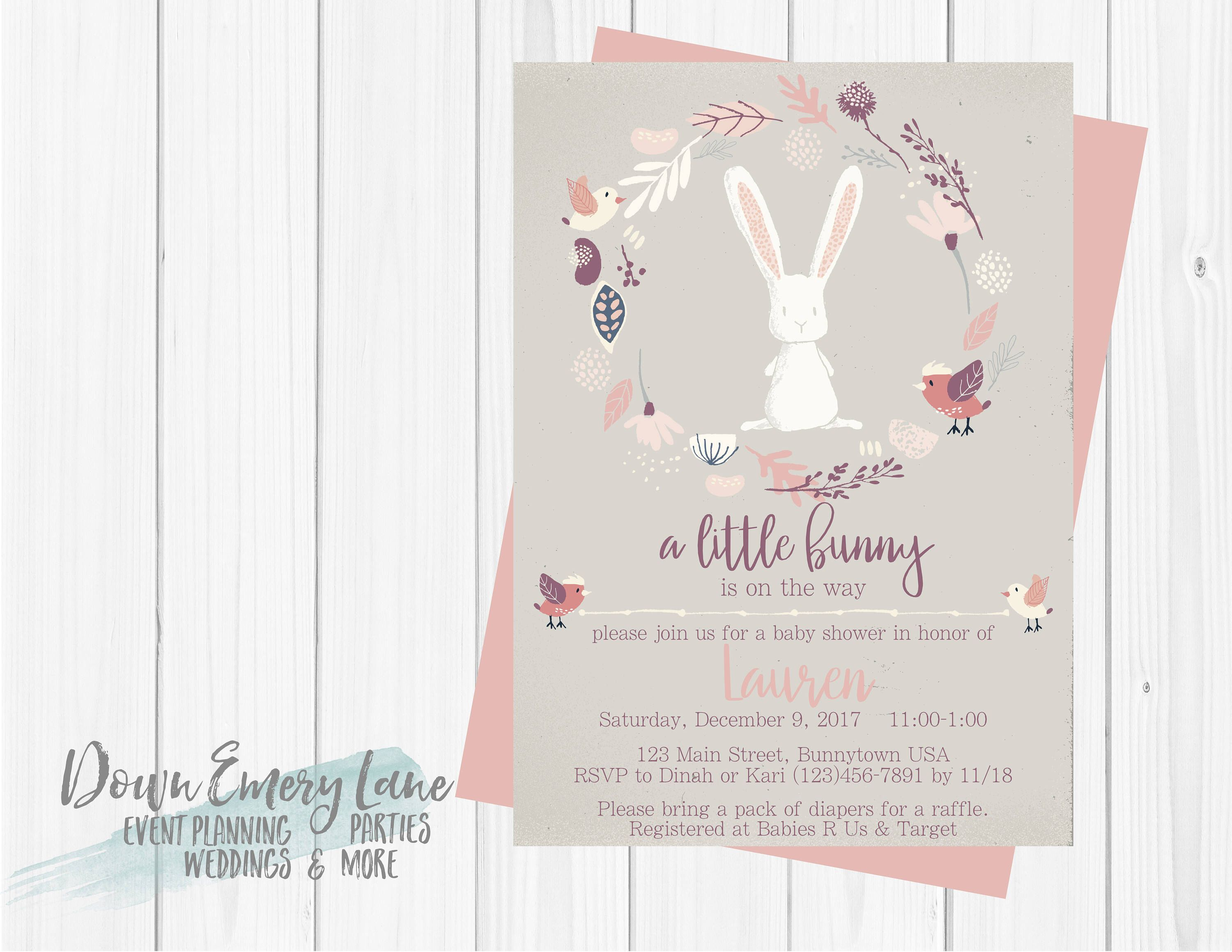 thank printable and you pink gold shower white cards print invitations to free bunny product image home baby with at listing